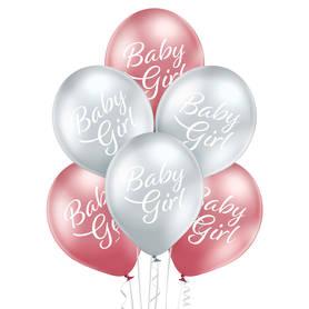 Srebrno różowy komplet balonów na narodziny dziewczynki